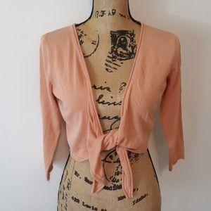 Worthington | Silk Blend Peach Tie Crop Cardigan